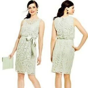 ADRIANNA PAPPELL Mint Blouson Lace Dress with Tie